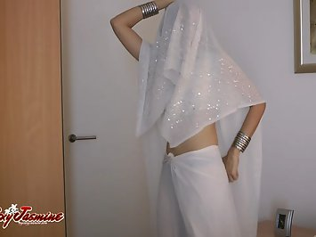 Indian Babe Jasmine In White Sari